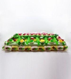 Tarta de golosinas rectangular - Oblea Fútbol