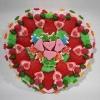Tarta corazón de golosinas - grande